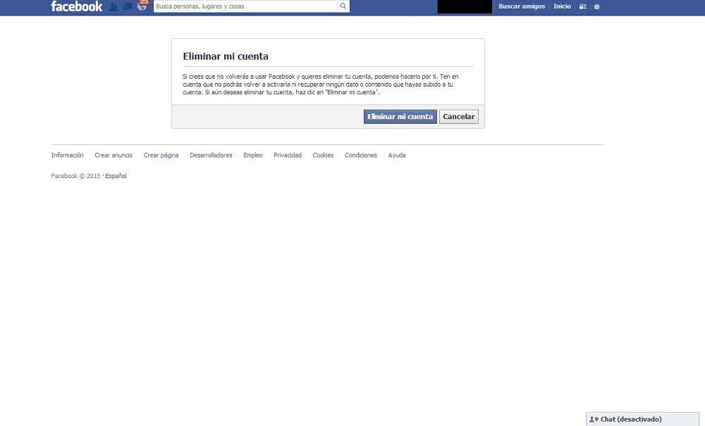 pasos para eliminar una cuenta de Facebook